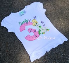 Girls Tinkerbell Birthday Shirt Personalized by daffedesigns, $25.00