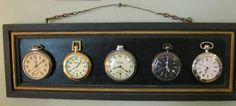 Vintage and New Hanging Pocket Watch Display- Shabby