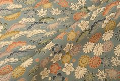 GREY GARDENS // Vintage Kimono SILK Fabric // Traditional Japanese Flower Motifs in Cream Ochre Grey Tans // 14 x 48  inches