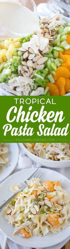 Tropical Chicken Pasta Salad with a creamy Greek Yogurt vinaigrette