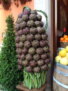 Roma, gorgeous artichokes outside a restaurant