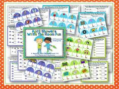 April Showers Write the Room Word Work for beginning, medial and ending sounds, CVC, CCVC blends and CVCe words including complete the sentences. Differentiated and Aligned