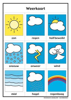 Weerkaart van Frokkie en Lola deel 1 in kleur Preschool Worksheets, Preschool Activities, Primary School, Pre School, Dutch Phrases, Teaching Weather, Learn Dutch, Dutch Language, Classroom Organisation