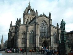 Impressive St Giles Cathedral, Edinburgh.  Top tower depicts the crown of thorns or, some would say, the Scottish crown.