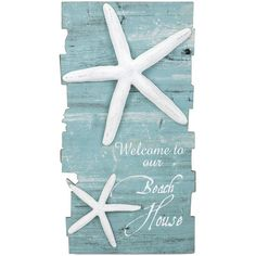 Beach House Welcome Sign ❤ liked on Polyvore featuring home, home decor, wall art, blue wall art, blue home decor, starfish wall art, welcome sign and welcome wall art