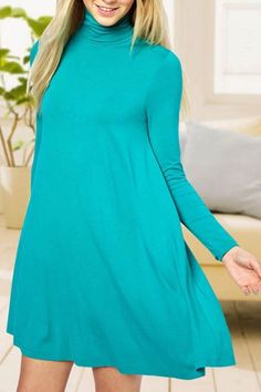 Solid Color Turtle Neck Long Sleeve Dress