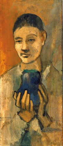 Pablo Picasso - Spanish, active in France, 1881-1973 / Boy Holding a Blue Vase, 1905 - Oil on canvas, 25 5/8 x 11 1/8 in. The Hyde Collection