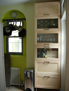 Ikea Varde Cabinets Hacked Into Tall Kitchen Storage Stack By Stacking And Bolting Together