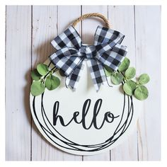 HELLO Front Door Hanger/ Farmhouse wall decor / Adorable Front Door round Decor/ Free Shipping. Outdoor and Indoor decorating. This adorable door hanger makes a great addition to any front door. Make everyone feel welcome with yours.