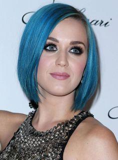 blue hair | Newly Single Katy Perry Rocks Blue Hair & LBD