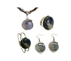 Black Reiki Set (Necklace + Bracelet + Ring + Earrings)