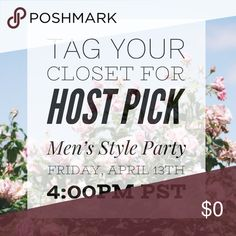 """Tag Your Closet for HP ✨ I'm SO excited to be CO-HOSTING my second Poshmark Party, tomorrow!! Pls comment & tag your closet below or your pffs, so that I can check them out! I have 100 slots open for """"Host Picks"""" to those who need the exposure ✨ Looking for fresh closets that are 💕posh compliant  💕have bright clear cover shots J O I N  M E Time: 4:00pm PST  Date: 04.13.18 Theme: Men's Style Can't wait to review your closets! Please help spread the word.  xoxo, Chelsea Lee Other"""