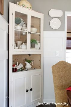 Paint The Inside Of The Three Corner Cabinet A Different Color....or