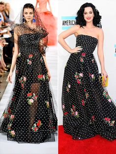 High-Fashion Faceoff: Runway vs. Red Carpet   KATY IN OSCAR DE LA RENTA   Perry didn't just get rid of all that extra polka-dot tulle, which the model wears as a veil; she seems to have used the fabric to line the skirt, converting it from sheer to opaque.