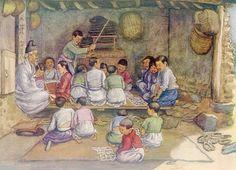 서당 풍경 Elizabeth Keith, 1887-1956--paintings of old Korea