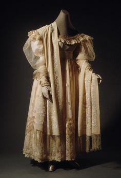 Dress and China Shawl: ca. 1825, silk, silk embroidery on silk crepe, silk fringe.