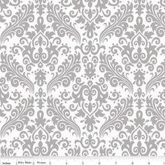 Riley Blake Designs - Hollywood - Sparkle Medium Damask in Gray