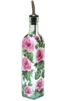 Hand geschilderd glazen fles olijfolie Dispenser roze rozen