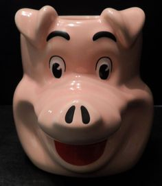 Coffee Mug Cup Pig Figural Pink Hog Large Oversized Collectible 16 oz. Hot Hogs #HotHogs