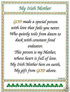 Irish Poem For Mom : irish, Ireland, Slang, Blessings,, Humor, (Mam)