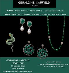 GERALDINE CARFIELD JEWELLERY présentera sa nouvelle collection au salon du Tranoi, au Carrousel du Louvre du 27 au 30 septembre à Paris!