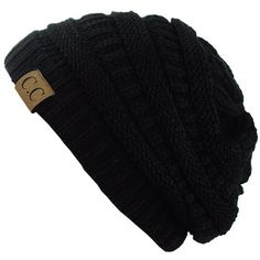 Unisex Trendy Warm Chunky Soft Stretch Cable Knit Slouchy Beanie... (41 VEF) ❤ liked on Polyvore featuring accessories, hats, black cable knit hat, slouchy beanie, black beanie cap, black slouchy hat and black slouchy beanie