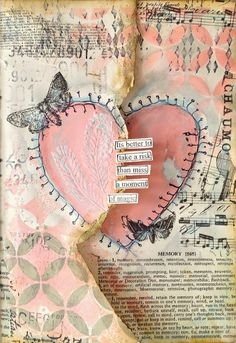 ART JOURNAL PAGE | HEART | Nika In Wonderland Art Journaling and Mixed Media Tutorials