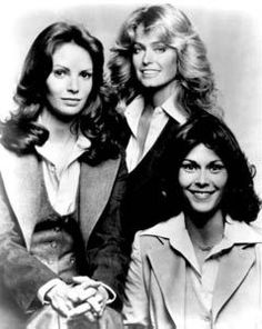 """""""Charlie's Angels"""" - The original, beautiful three: Jaclyn Smith, Farrah Fawcett and Kate Jackson. These ladies were our mentors; naturally beautiful, athletic, sexy and smart. We really did look up to them. Kate Jackson, Jaclyn Smith, Cheryl Ladd, Farrah Fawcett, Christopher Eccleston, Charlies Angels, Angel Cast, 1970s Hairstyles, Wedge Hairstyles"""
