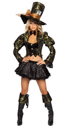 Click on picture TWICE to see price & to order. Sexy Mad Hatter Halloween Costume, 4 pcs #thesexiestlingerie, #costume, #halloween