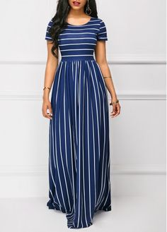 Navy High Waist Stripe Print Short Sleeve Maxi Dress