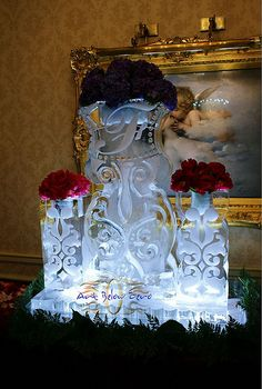 Provence Vases Ice Sculpture _Ice Sculpture _Wedding _Events Food Sculpture, Snow Sculptures, Ice Sculpture Wedding, Nightmare Before Christmas Wedding, Ice Art, Snow Art, Ice Ice Baby, Snow And Ice, Reception Decorations