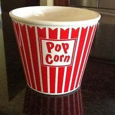 Vintage Ceramic Red on White Popcorn Bowl Bucket MSRF, Inc