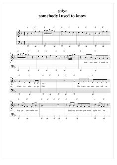 Somebody That I Used to Know Piano Sheet Music - Gotye