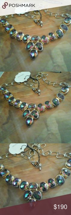 """Mystic Topaz  Sterling Silver Necklace Fountain of colors.  Gorgeous Mystic Topaz Stones set in Sterling Silver.  Length is 18"""" Adjustable. Jewelry Necklaces"""