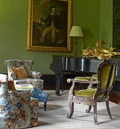 Julia Reed's New Orleans living room via My Notting Hil. Fabric is Claremont's Georges Le Manach Montefontaine Gris