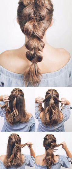 coiffure plage facile fausse tresse queue poisson tendances capillaires femme été 2018 #hairstyle #hair