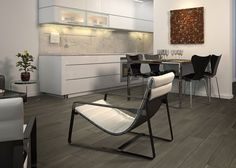 Our Woodland Black wood effect porcelain tiles have a burnt carbonised appearance creating a floor with real gravitas. a metre. Wood Effect Floor Tiles, Wood Effect Porcelain Tiles, Porcelain Floor, Tile Floor, Bathroom Interior, Kitchen Interior, Rustic Contemporary, Folding Chair, Black Wood