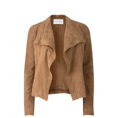 Amanda Wakeley Nicks Suede Jacket (1,765 BAM) ❤ liked on Polyvore featuring outerwear, jackets, coats, takit, tan, suede waterfall jacket, drape jacket, brown jacket, suede leather jacket and high neck jacket