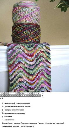 knit ripple scarf with 2 variegated yarns - might try a v stitch crochet version of this. love the yarn! Knit Or Crochet, Crochet Scarves, Crochet Crafts, Yarn Crafts, Scarf Knit, Loom Scarf, Loom Knitting, Knitting Stitches, Free Knitting