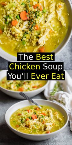 The BEST chicken soup you'll ever eat is the best homemade nourishing healthy soup when you're feeling under the weather. Packed with anti-inflammatory ingredients like ginger, turmeric, garlic. BEST SOUP EVER! Good Quick Dinners, Quick Dinner Recipes, Soup Recipes, Chicken Recipes, Cooking Recipes, Chicken Soups, Healthy Soup, Healthy Recipes, The Best
