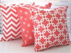 Coral Pillow, Decorative Throw Pillow Cover, Coral Chevron, Pillows, 1 - 18 x 18 Decorative Pillow Covers, Throw Pillow Covers, Decorative Throw Pillows, Lounge Cushions, Scatter Cushions, Coral Home Decor, Coral Chevron, Coral Pillows, Kitchen Fabric