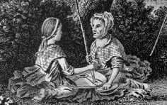 "1772. Detail from an engraving by Thomas Pennant, ""Women at the Quern.""  This shows two women using a quern, or hand mill, to grind grain.  You can see the petticoats, jackets or shortgowns, and checked neckerchiefs worn by the two women, and what appears to be a ring brooch fastening the neckerchief of the woman facing the viewer.  She is also wearing a cap like those common elsewhere in Britain at this time, while the girl wears her hair in a ponytail with a fillet."