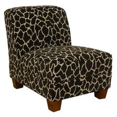 Add a touch of style to your living space with the Chelsea Sally Armless Chair - Giraffe . Stylish and comfortable, this chair has square tapered. Giraffe Bedroom, Giraffe Decor, Cute Giraffe, Giraffe Print, Safari Decorations, Things To Do At Home, Armless Chair, Living Spaces, Accent Chairs