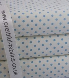 "Cream with Blue Polka Dot  3mm dot    <span style=""line-height: 1.5"">100% Cotton Fabric</span>    Rose & Hubble    130gsm"