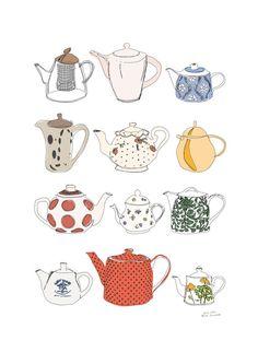 digital tea pots illustration from Anna Grunduls Tee Illustration, Digital Illustration, Teapot Centerpiece, Teapot Crafts, Tee Kunst, Teapot Cake, Buch Design, Doodles, Tea Art