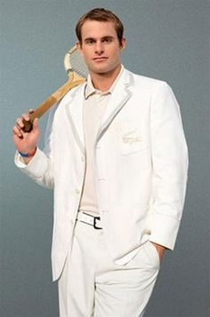 Andy Roddick, the top-ranked american male tennis player for many years, retired in 2012, wearing tennis whites by Lacoste.