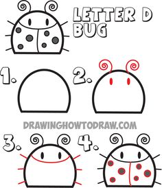 how to draw a cartoon bug from the letter d shape