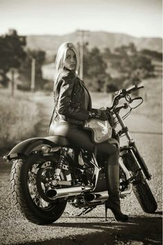 @HeatherRaeYoung #PlayBoyPlaymate in #black #leather on a #motorcycle w/ #playboy #bunny #helmet #LetsGetWordy