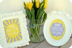 "Download free printable ""You Are My Sunshine"" prints! They are bright and happy and are sure to cheer up any day ""when skies are gray""."