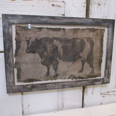 Farmhouse framed bull cow print distressed handmade wood frame hand torn large print deep natural colors home decor anita spero design